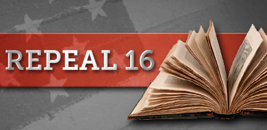 Repeal 16 with red banner and book