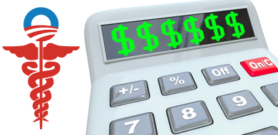 Red and blue Obamacare symbol with green dollar signs on calculator