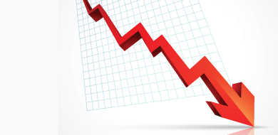Red arrow going down along graph