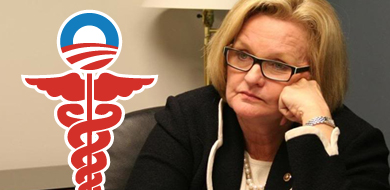 Senator McCaskill with hand on face looking at Obamacare symbol
