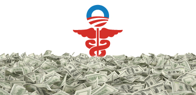Red and blue Obamacare symbol with money on ground