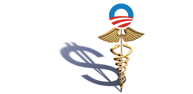 Red blue and gold Obamacare symbol with dollar sign shadow