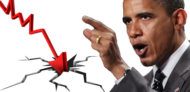 Obama pointing, cracks, trend line in the ground