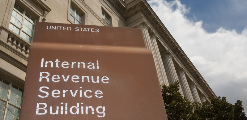 Sign for the IRS building