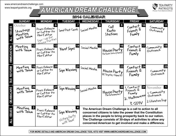 30 day calendar (B & W)