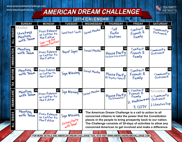 30 day calendar (color)